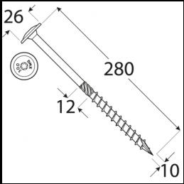 Konštrukčný vrut - DRVTK 10x280 TORX