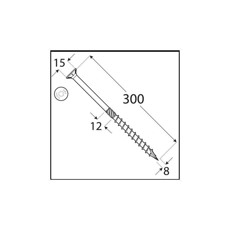 Konštrukčný vrut - DRVT 8x320 TORX