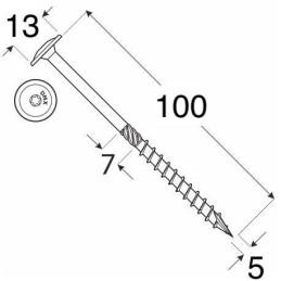 Konštrukčný vrut - DRVTK 5x100 TORX