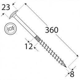 Konštrukčný vrut - DRVTK 8x360 TORX