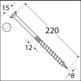 Konštrukčný vrut - DRVT 8x220 TORX