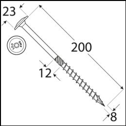 Konštrukčný vrut - DRVTK 8x200 TORX