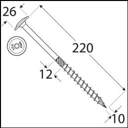 Konštrukčný vrut - DRVTK 10x220 TORX