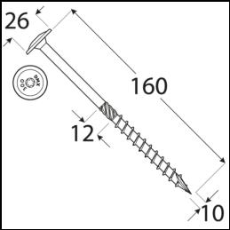 DRVTK 10x160 TORX