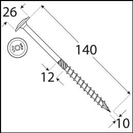 Konštrukčný vrut - DRVTK 10x140 TORX
