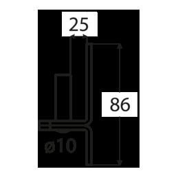 Pánt - C 10/25C - ČIERNY