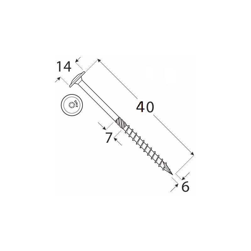 DRVTK 6x40 TORX
