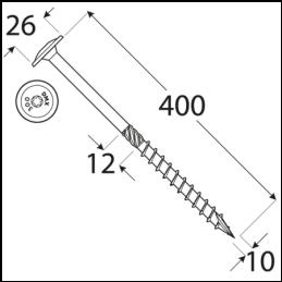 Konštrukčný vrut - DRVTK 10x400 TORX