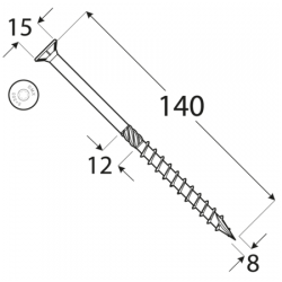 Konštrukčný vrut - DRVT 8x140 TORX