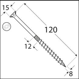 Konštrukčný vrut - DRVT 8x120 TORX