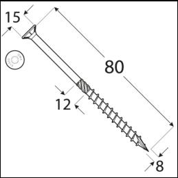 Konštrukčný vrut - DRVT 8x80 ZN TORX