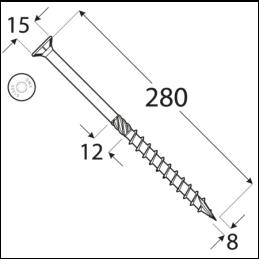 Konštrukčný vrut - DRVT 8x280 TORX