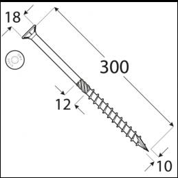 Konštrukčný vrut - DRVT 10x300 TORX
