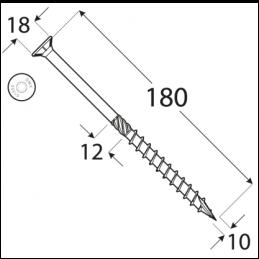 Konštrukčný vrut - DRVT 10x180 TORX