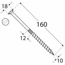 Konštrukčný vrut - DRVT 10x160 TORX