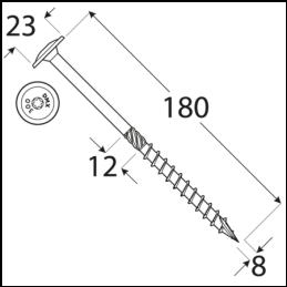 Konštrukčný vrut - DRVTK 8x180 TORX